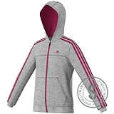 3 Stripes Essentials Full Zip Hoodie - Grey Blazing Pink
