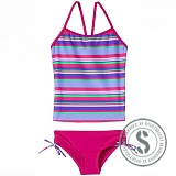 Junior Printed Tankini - Purple Pink
