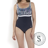 Sculpture Contour Printed Swimsuit - Navy Blue