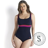 Sculpture Contour Swimsuit - Navy Red