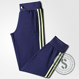 Essentials 3 Stripes Closed Hem Pant - Mid Indigo Frozen Yellow