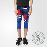 Techfit Three-Quarter Tights - Blue Red